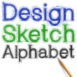 Sketch letters and numbers with pencil new — Stock Photo