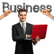 Sketch word business with businessman — Stock Photo #6849248
