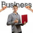 Sketch word business with businessman — Stock Photo #6849357