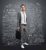 бизнесмен с мешком — Стоковое фото