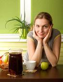 Pregnant woman on kitchen — Stock Photo