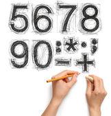 素描字母和数字与手和铅笔 — 图库照片