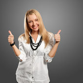 Young businesswoman shows well done — Stock Photo