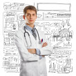 Young doctor man with stethoscope — Stock Photo