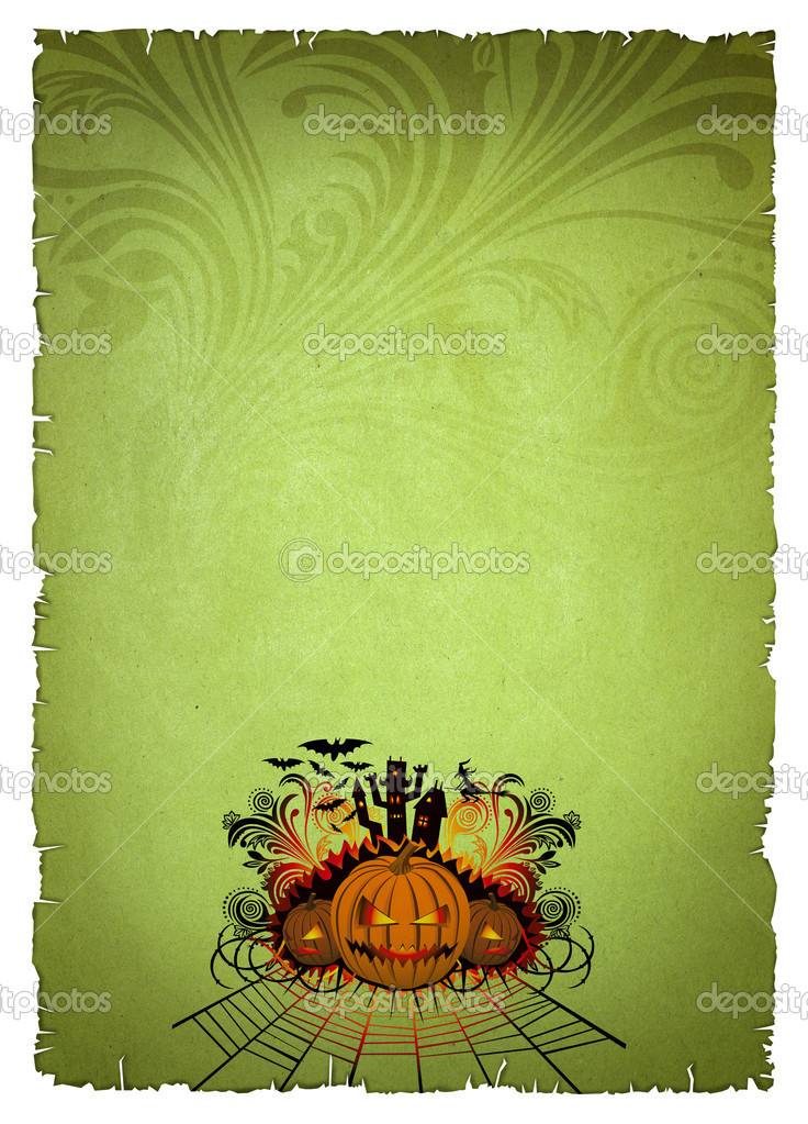 Green old paper with halloween pumpkin — Stock Photo #6927381