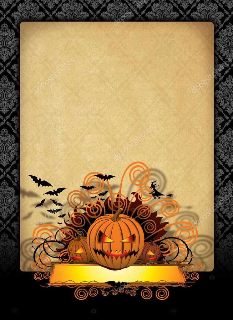 Spooky halloween background with pumpkin bats and with  Stock Photo #6927406