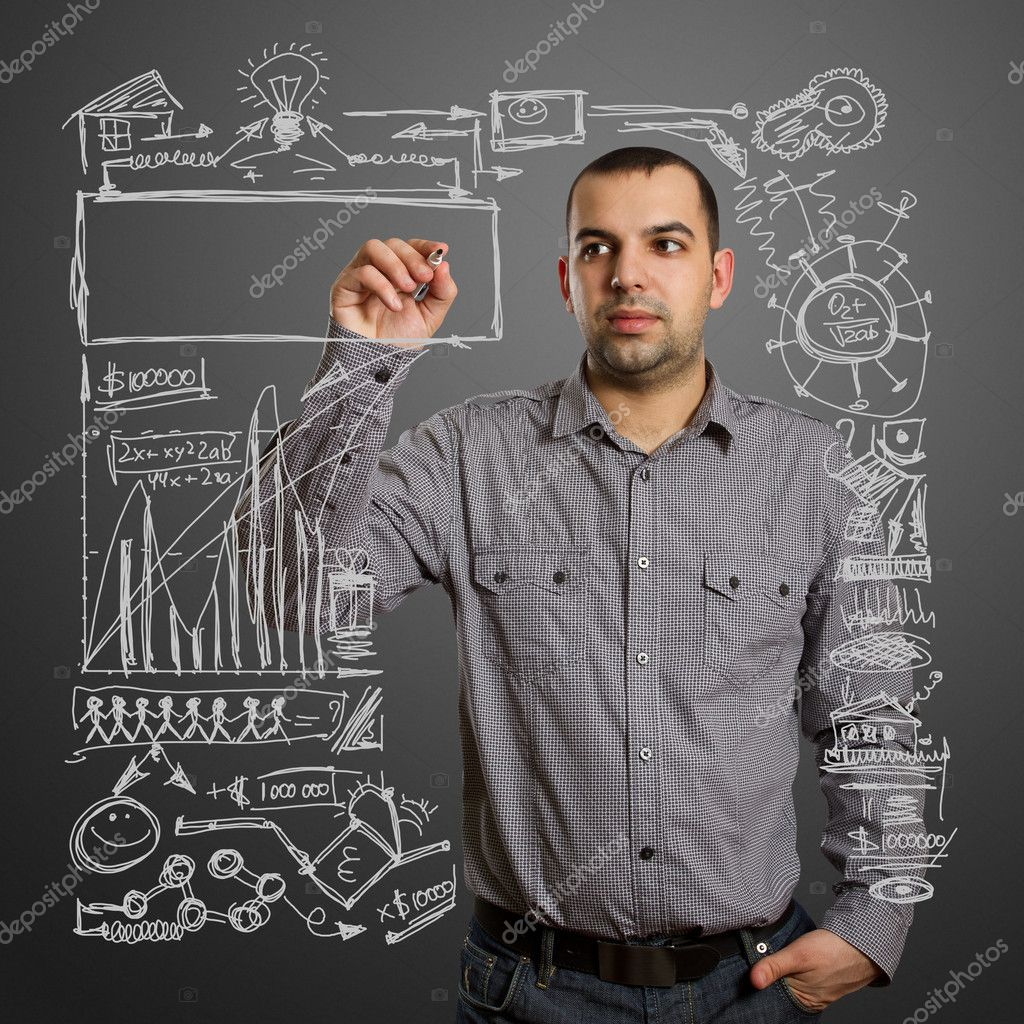 Male writing something on glass board with marker — Stock Photo #6927462
