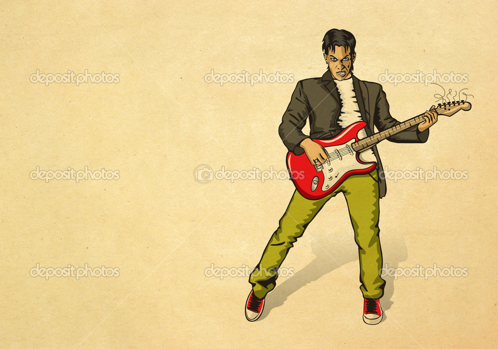 Punk man with the guitar on beige old paper  Stock Photo #6927489
