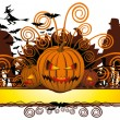 Angry halloween pumpkin and dancing — Imagen vectorial