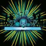 Angry halloween skull and dancing — Stock Vector #6927297