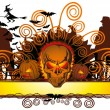 Stock Vector: Angry halloween skull and dancing