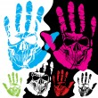 Vector de stock : Skull and hand