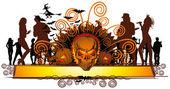 Angry halloween skull and dancing — Stock Vector