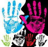 Cráneo y la mano — Vector de stock