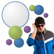 G-man in glasses with headphones and speech bubble — Stock Photo