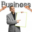 Sketch word business with businessman — Stock Photo