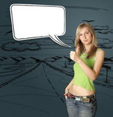 Young woman shows well done — Stock Photo