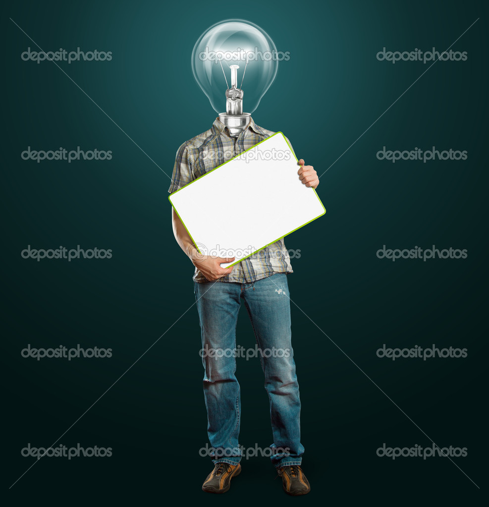 Lamp head businessman holding empty write board in his hands — Stock Photo #7007615