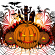 Angry halloween pumpkin and dancing — Stock Vector #7007709