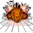 Angry halloween skull — Stock Vector