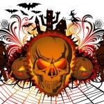 Angry halloween skull and dancing — Stock Vector #7007788