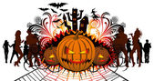 Angry halloween pumpkin and dancing — Stock Vector
