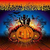 Enojado calabaza de halloween — Vector de stock