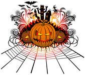 Angry halloween pumpkin — Stock Vector