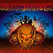 Calavera halloween enojado — Vector de stock