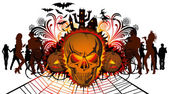 Angry halloween skull and dancing — Vector de stock