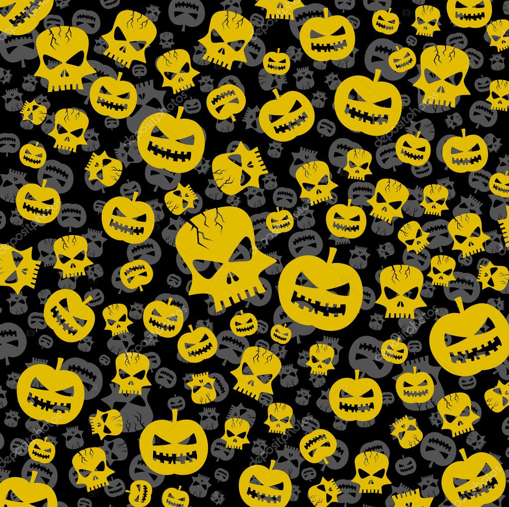 Vector halloween abstract background with skull and pumpkin  Stock Vector #7244231