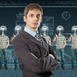 Lamp head businesspeople shows well done — Stock Photo