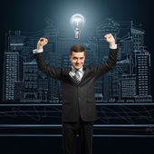 Lamp-head businessman with hands up — Fotografia Stock