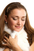 Woman with furs — Stock Photo