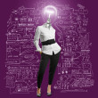 Lamp head businesswoman — Stock Photo