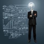 Lampa huvud affärsman — Stockfoto