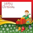 Royalty-Free Stock Vector Image: Christmas Card with Socks and Boy