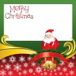 Vector Christmas Card with Bells and Santa Claus — Image vectorielle