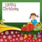Christmas Card with Socks and Girl — Stock Vector
