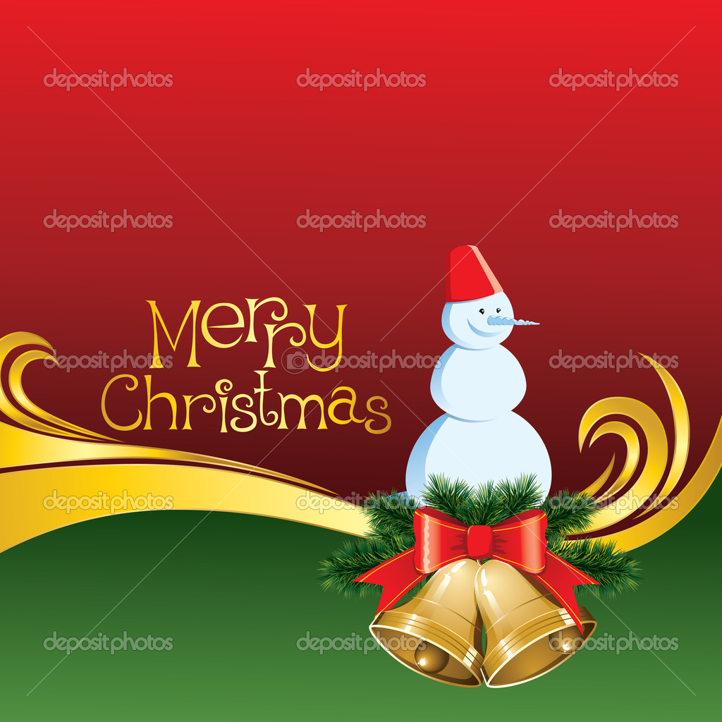 2012 vector christmas card with jingle bells and snowman — Stock Vector #7506737