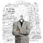 Lamp head businessman — Stock Photo