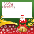 Vector Christmas Card with Bells and Santa Claus — Imagen vectorial