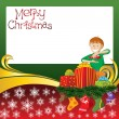 Christmas Card with Socks and Boy — Imagen vectorial