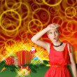 Woman In Red With Christmas Gifts — ストック写真