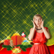 Woman In Red With Christmas Gifts — Stockfoto