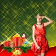 Woman In Red With Christmas Gifts — 图库照片