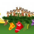 2012 vector christmas card with reindeers — Stock Vector #7678659