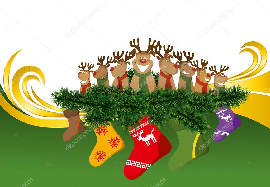 2012 vector christmas card with eight reindeers — Stock Vector #7678659