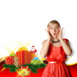 Woman In Red With Christmas Gifts — Stock Photo