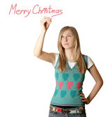 Woman writting Merry Christmas — Stock Photo